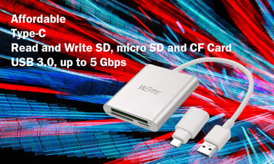 Affordable Type-C Read and Write SD, micro SD and CF Card USB 3.0, up to 5 Gbps