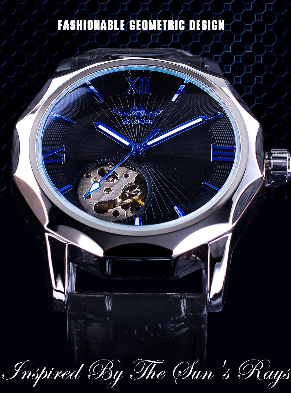 Casual Genuine Leather Skeleton Watch