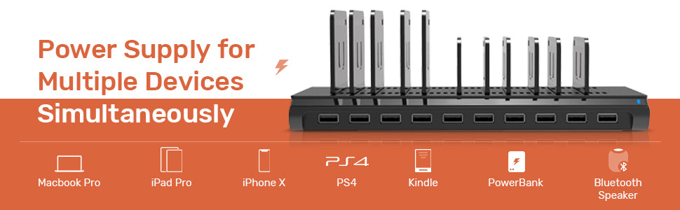 10-Port USB Charging Station with Adjustable Dividers
