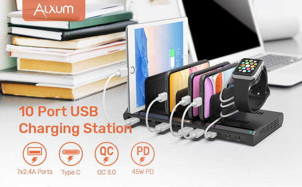 10 Ports USB C Charging Station with iWatch Charger Stand