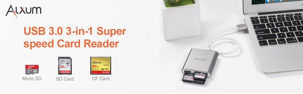 3-in-1 Card Reader for CF/Micro SD/SD Card
