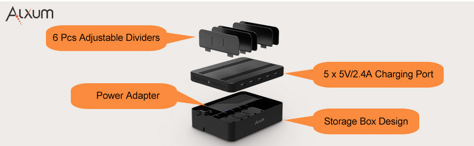 5 Ports USB Charging Dock with Storage Box