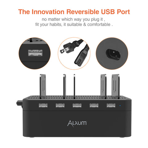 5 Ports USB Charging Dock with Storage Box Alxum