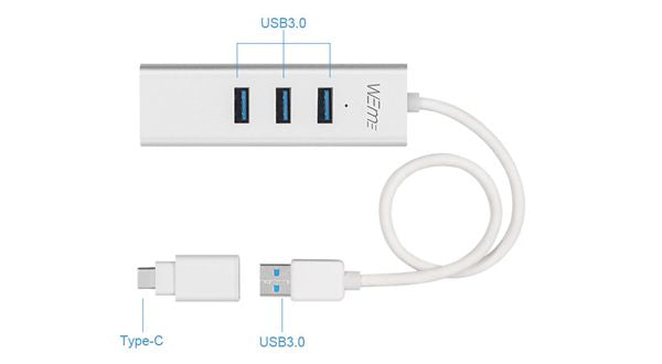 USB-C to Ethernet Adapter with 3-Port USB Hub