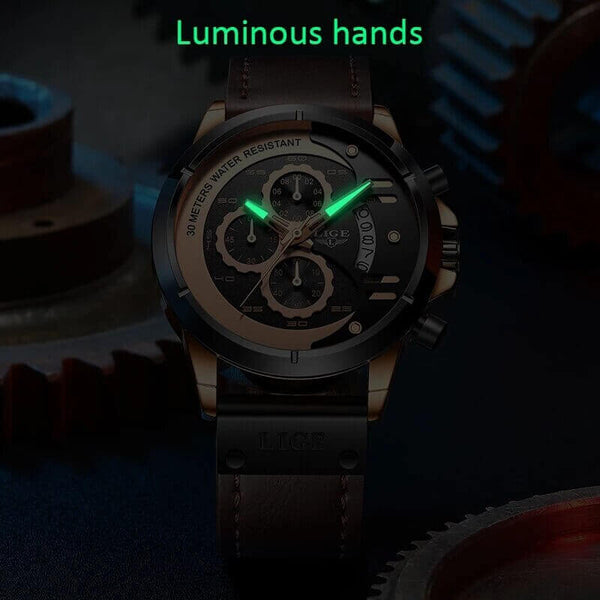 Luxury Military Leather Sports Watch