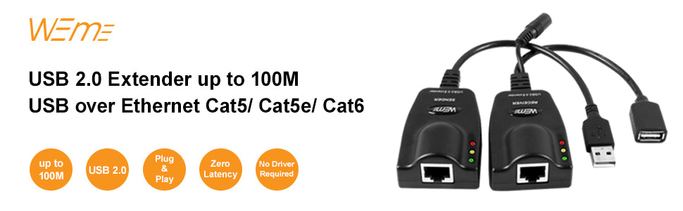 USB 2.0 Cable Extender to RJ45 Over Cat5/5E/6 (100M/328FT)