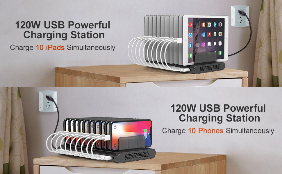 Alxum USB Charging Station 10 Ports With Type-C Port 120W