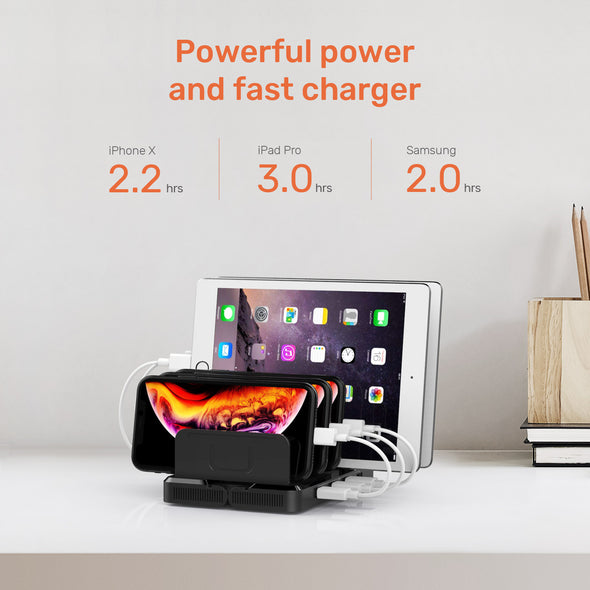 8-Port Transformable Wall Mount Charging Station with Quick Charge 3.0