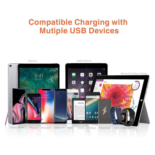 5 Ports USB Multi Device Charging Station QC3.0 Alxum