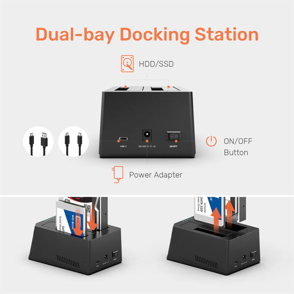 Clone Hard Drive Docking Station USB C to SATA HDD