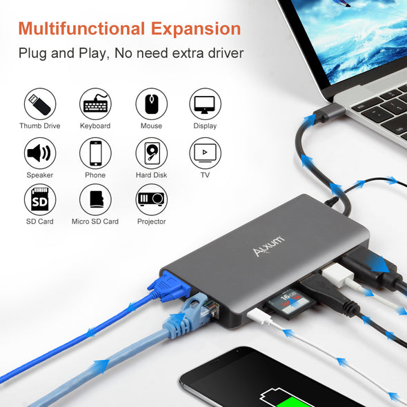 Fast 100W PD Charging USB C 8-in-1 Hub