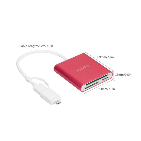 USB SD Card Reader USB 3.0 CF/SD/TF with OTG Adapter (Rose RED)