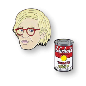Andy Warhol & Soup Can Set of 2 Enamel Pins