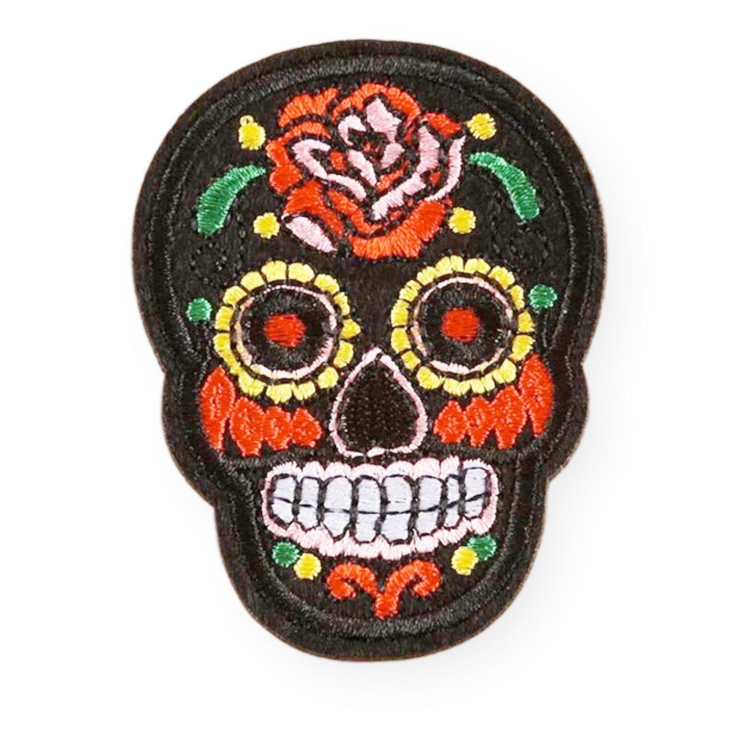 Black Sugar Skull Embroidered Patch