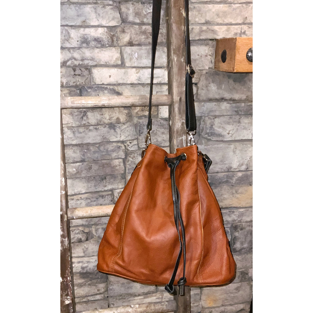 Maria Bucket Bag in Whiskey with Black Trim