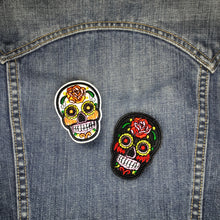 Load image into Gallery viewer, Black Sugar Skull Embroidered Patch