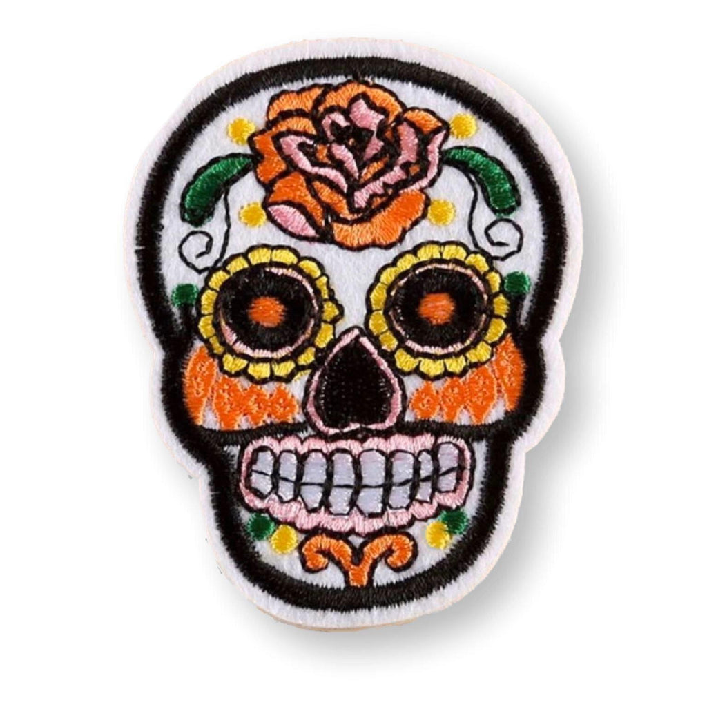 White Sugar Skull Embroidered Patch