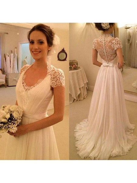 A-line Chiffon Beach Wedding Dress Cap Sleeves Sweep Train Bridal Gown,apd1637-SheerGirl