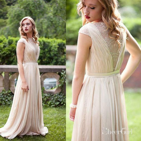 A-line Chiffon Long Bridesmaid Dress,Simple Prom Dress with Cap Sleeves,apd1551-SheerGirl