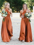 A-line Halter Orange Long Bridesmaid Dresses Plus Size APD3057-SheerGirl