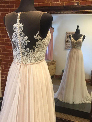 A-line Lace Appliqued Top Tulle Skirt Summer Beach Wedding Dresses,apd2676-SheerGirl