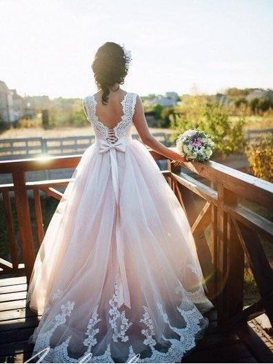 415a467cf73 A-line Nude Tulle Bridal Dresses Ivory Lace Appliqued Ball Gown Wedding  Dresses