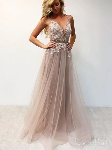 Beaded Lace Bodice V Neck Prom Dresses Long Cheap Formal Dress ARD1976-SheerGirl