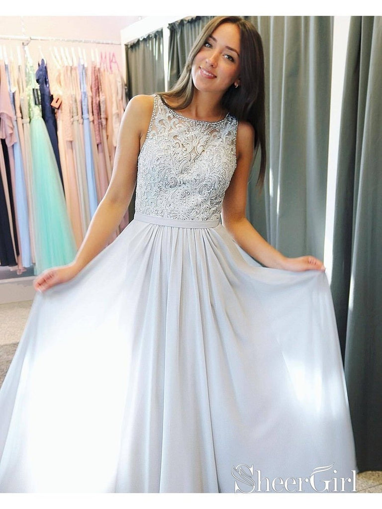 Beaded Silver Chiffon Long Prom Dresses Lace Appliqued Formal Dresses ARD1423-SheerGirl