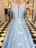 Cheap Sky Blue Long Prom Dresses with Pockets Lilac Jacquard Prom Ball Gown ARD1879-SheerGirl