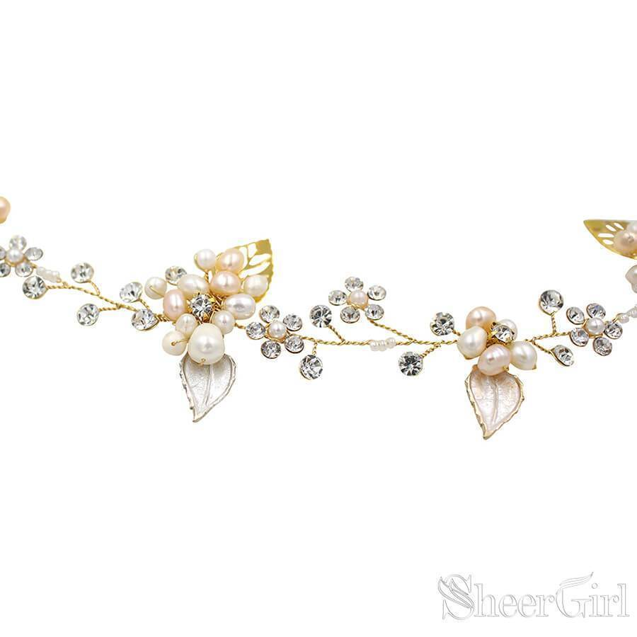 Hand-wired Crystal Petals Bridal Headband with Tieback and Pearl ACC1113-SheerGirl