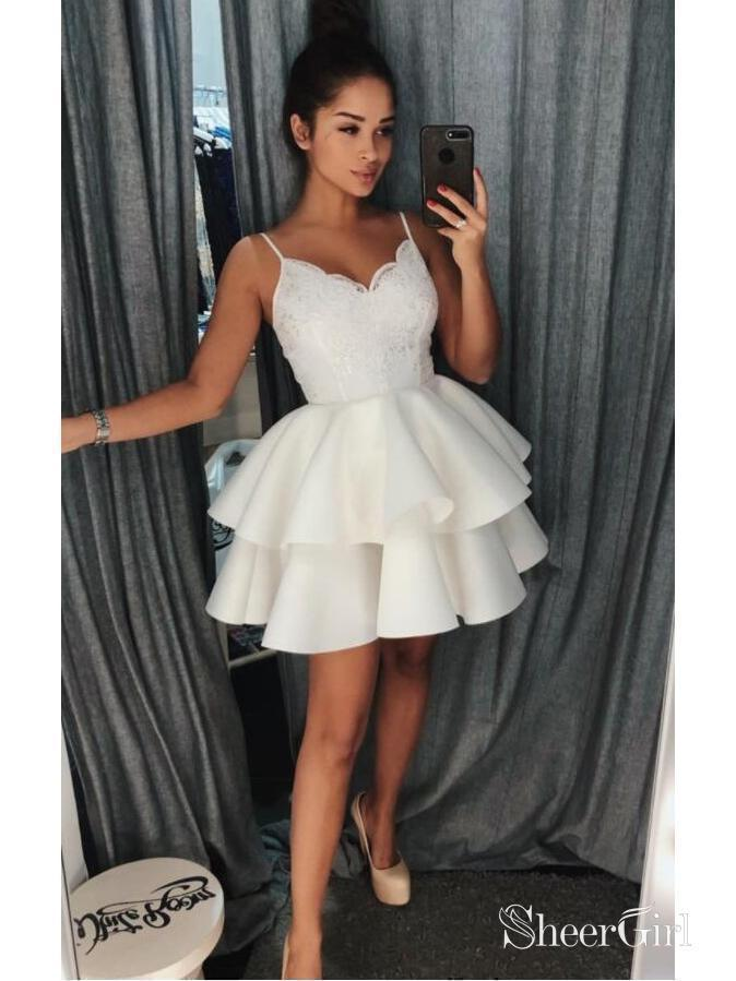 Ivory Lace Short Homecoming Dresses Lace Spaghetti Strap V Neck Hoco Dress ARD1371-SheerGirl