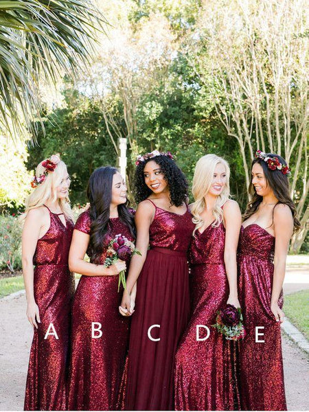Long Sequins Lace Burgundy Modest Mismatched Bridesmaid Dresses with Sleeves PB10106-SheerGirl