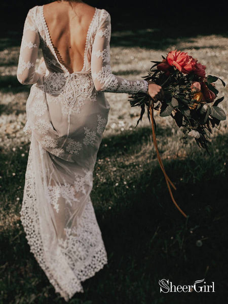 Long Sleeve Ivory Sheath Wedding Dresses Backless Lace Applique Country Wedding Dress AWD1269-SheerGirl