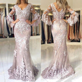 Modest Mermaid Lace Prom Dresses with Sleeves Vintage Prom Dress ARD1893-SheerGirl