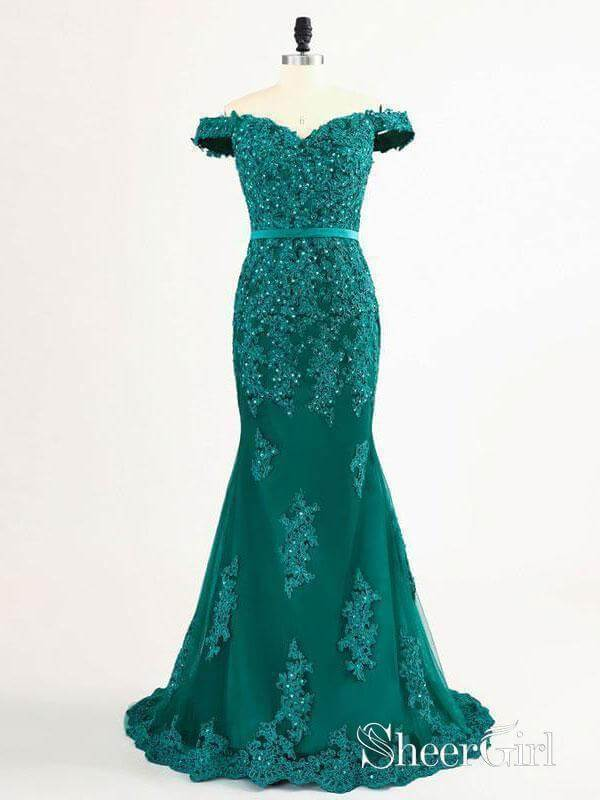 Off the Shoulder Emerald Green Lace Mermaid Long Prom Dresses APD2992-SheerGirl