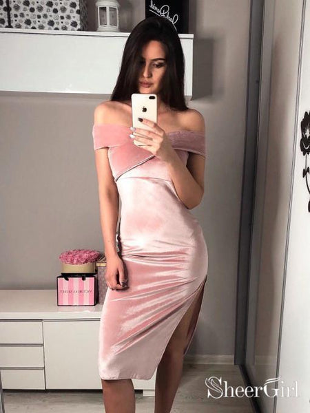Off the Shoulder Sexy Velvet Short Prom Dresses Cheap Cocktail Dress ARD1851-SheerGirl