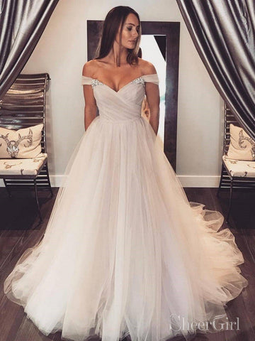 Off the Shoulder Simple Tulle Wedding Dresses Cheap Wedding Gown AWD1508-SheerGirl