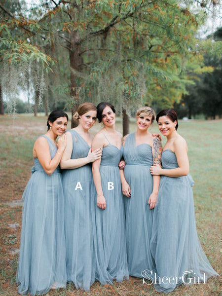 One Shoulder Spaghetti Strap Mismatched Bridesmaid Dresses Dusty Blue PB10089-SheerGirl