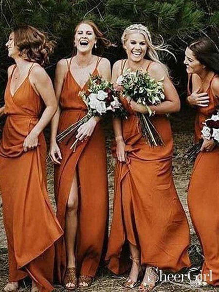 e0bacda16c6 Orange Spaghetti V Neck Strap Long Bridesmaid Dresses Cheap APD1746- SheerGirl