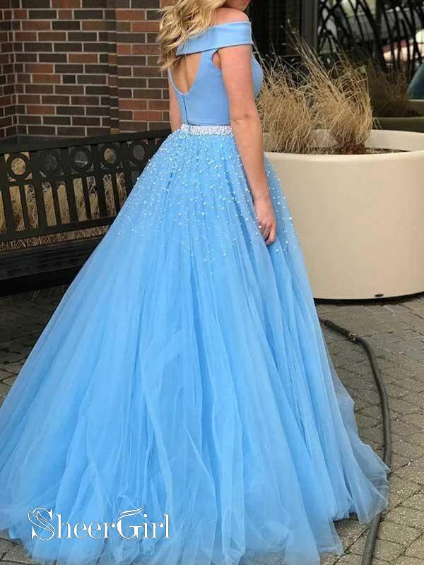 Pearls Junior Prom Dresses Sky Blue Lace Two Piece Prom Gown ARD2147-SheerGirl