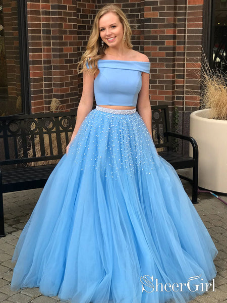 Sky Blue Lace Two Piece Prom Gown