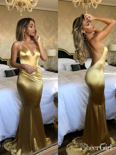 Royal Blue Long Mermaid Prom Dresses 2019 Backless Gold Pageant Dress APD3253-SheerGirl