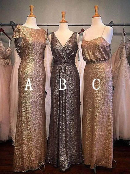 Shiny Gold Sheath Mismatched Bridesmaid Dresses Plus Size Maxi Dress ARD1837-SheerGirl
