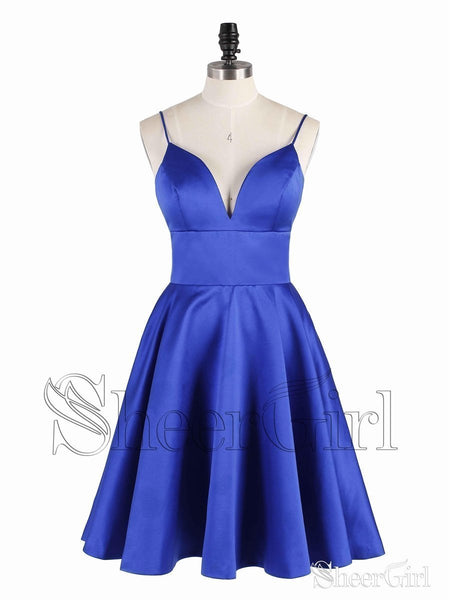 Spaghetti Strap Royal Blue Homecoming Dresses V Neck Satin Cocktail Dress ARD1459-SheerGirl