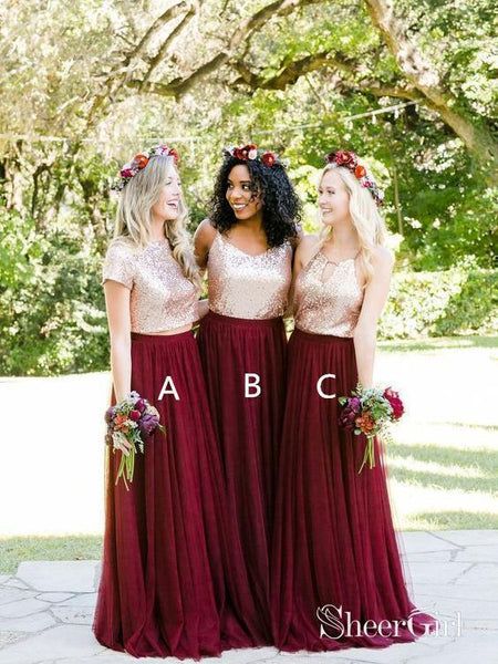 8e33f3207d2b Tulle Short Sleeve Gold Burgundy Mismatched Bridesmaid Dresses Fitted  PB10100-SheerGirl