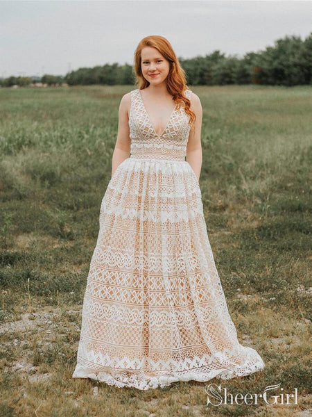 V Neck Long Lace Prom Dresses Plus Size with Pocket Vintage Formal Dress ARD1949-SheerGirl