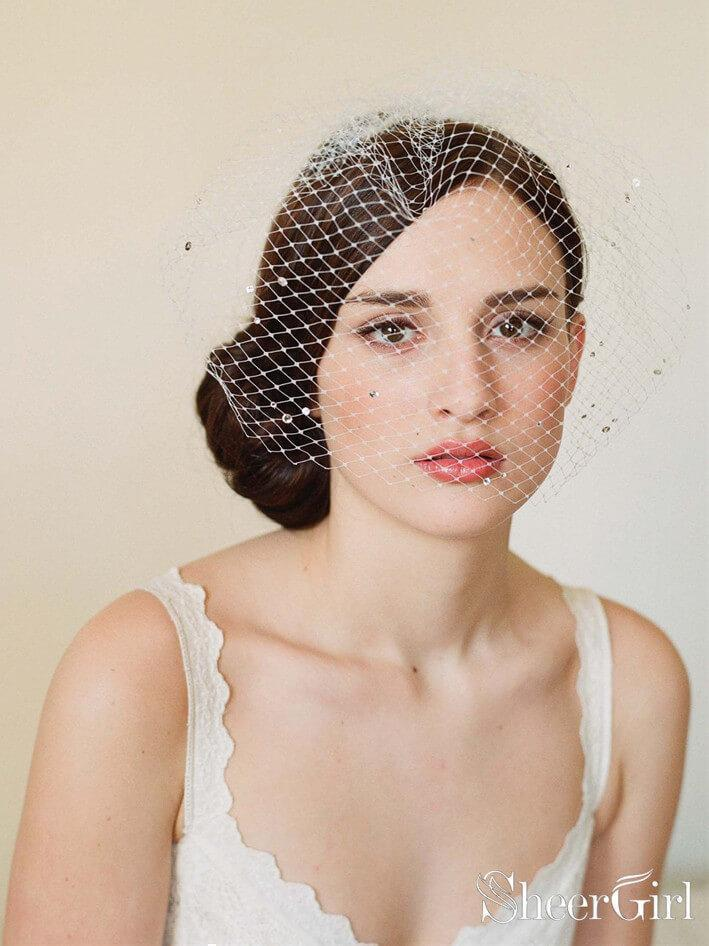 Vintage Ivory Mesh Birdcage Wedding Veils with Tiny Crystals ACC1086-SheerGirl