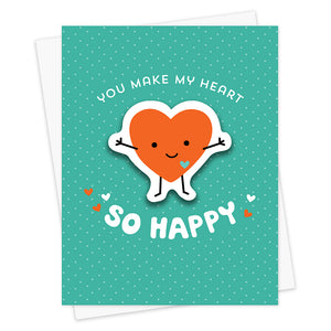 Happy Heart Sticker Love Card