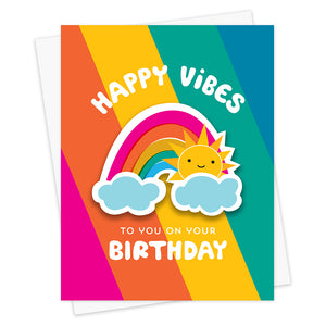 Sunny Rainbow Sticker Birthday Card