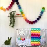 Giant Rainbow 10 ft Pom Pom Garland
